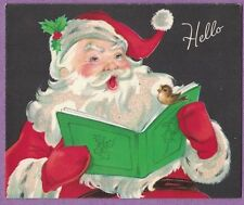 VTG CHRISTMAS CARD SANTA CLAUS SINGING CAROLS WITH BIRD GREEN BOOK GLITTER