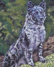 "Hungarian Mudi dog art Canvas print of LA Shepard painting 8x10"" merle"