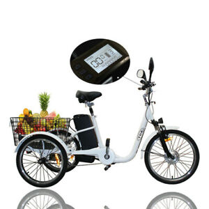 48v 250w Electric Trike Tricycle Ebike PAS 10.4AH lithium battery Escooter white