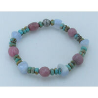 UNISEX 925 Sterling Silver REAL Turquoise Rhodonite Chalcedony Stretch Bracelet
