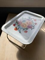 Vintage Metal TV Tray with folding legs Floral Design