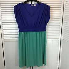 Cato Womans Dress Blue Teal Relaxed Empire High Waist Short Sleeve Size L Large