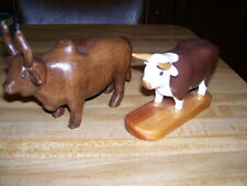 (A) Pair of Wood Hand Carved Bull Animals Figurines