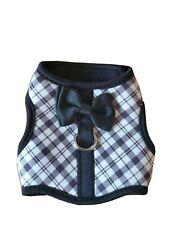 Top Paw Black White Classic Plaid soft vest dog harness with Bow tie XXS