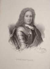 Litho PORTRAIT DAVY d'AMFREVILLE OFFICIER MARINE ROYALE BATAILLE LA HOUGUE 1835