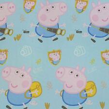 Tessuto Peppa Pig e George al metro Semitrasparente Alt. 300 cm - Celeste M758