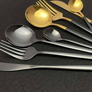 Dinnerware Set Blue Gold Shiny Fork Spoon Knife Cutlery Stainless Steel