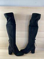 ALDO Black Suede Round Toe Side Zip Block Heel Over The Kne Boots Women's Size 8