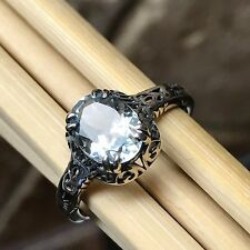 AAA Natural 2ct Aquamarine 925 Solid Sterling Silver Antique Filigree Ring 7.25