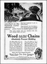 1914 Weed Tire Chain Grip Company Canastota New York rain skidding art print ad