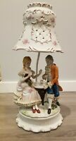 Vintage Victorian Couple Figurine Porcelain Lamp w/ Porcelain Shade