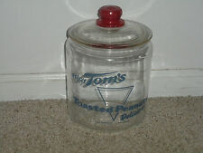 "VINTAGE ORIGINAL TOM'S TOASTED PEANUTS SNACKS GLASS DISPLAY JAR--11"" X 7"""