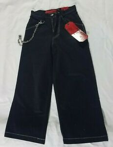 NEW Vintage JNCO Black Jeans Skull Hip Chain Embroidery 26x24 Boys Size 10 TAGS