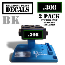 "308 Reloading Press Decals Ammo Labels 1.95"" x .87"" Sticker 2 Pack BLK/GRN"
