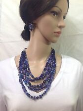 CHICO'S NEW blue Beaded necklace Set Includes Earrings