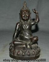 "9 ""Ancien Tibet Bouddhisme Bronze Mongolie Milarepa Mahasiddha Damarupa"