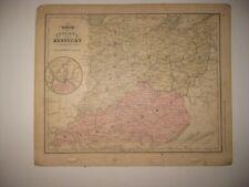 ANTIQUE 1866 OHIO INDIANA KENTUCKY HANDCOLOR MAP CINCINNATI LOUISVILLE RAILROAD