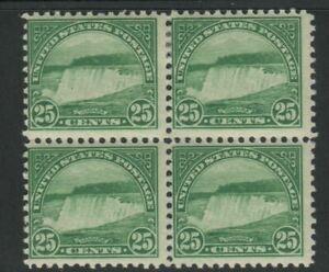 US Scott #568 Perf 11 Block of 4 25c Niagara (MLH top 2, MNH bottom 2)!