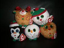 W-F-L TY 5 'er Set Beanie Ballz Renna Pinguino Pupazzo di Neve Natale lebkuc