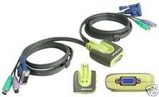 IOGEAR GCS62 Miniview Micro 2 port PS2 VGA KVM switch TESTED! With 6FT Cables