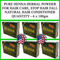 6 x 100gm PURE HENNA MEHNDI POWDER HAIR LOSS COLOR AMLA