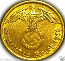 Germany  German 3rd Reich 1939D Gold Colored 5 Reichspfennig Coin  Rare WW2