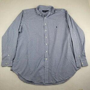 Polo Ralph Lauren Dress Shirt Size 2XLT Tall Blue Check Classic Button Down
