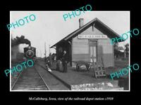 OLD LARGE HISTORIC PHOTO OF McCALLSBURG IOWA, THE RAILROAD DEPOT STATION c1910