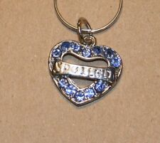 Spoiled Blue Rhinestone heart shaped Dog Collar Charm