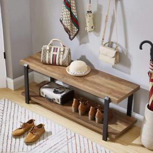 Industrial Shoes Bench Durable Wood Strong Steel Frame Home Storage Furniture
