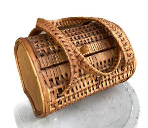 Vintage Wicker Purse Handbag Basket Bag Straw Double Handled Hinge Clasp Top