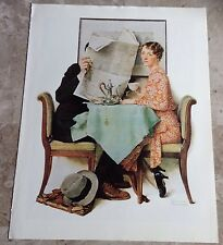 """Norman Rockwell Print """"Couple at Breakfast"""" Suitable For Framing Great Condition"""