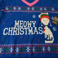 Ugly Womens Meowy Christmas Sweater XL Blue Pink Cat Kitty Snowflakes V-Neck New