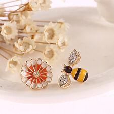 Cute Bee Flower Asymmetrical Stud Earrings Enamel Ear Stud Girl Earrings Jewelry