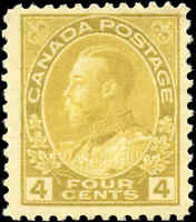 Mint H Canada 4c 1922 F+ Scott #110 King George V Admiral Issue Stamp