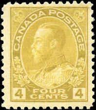 Mint H Canada 4c 1922 F+ Scott #110 King George V Admiral Issue Stamp