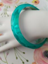 Clear Teal Mirrored Silver Tone Bangle Bracelet Texture Faceted BOHO Hippie Blue