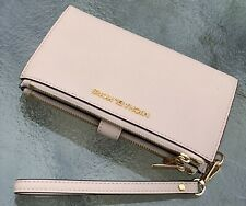 NWT Michael Kors Ballet Pink Saffiano Leather  Double Zip Phone Wallet Wristlet