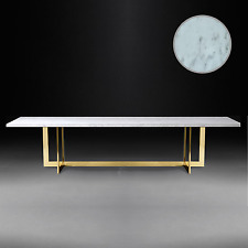 Hollywood Regency Glamour Chic Modern Marble DIning Table Gold Base Mid Century