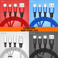 CABLE 3 en 1 USB CHARGEUR SAMSUNG IPHONE X XS XR / 8 / 7 TYPE C /IOS / Micro USB