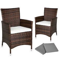 2 Pezzi Sedie da esterno Sedia da Giardino poli rattan ALU poltrona set marrone