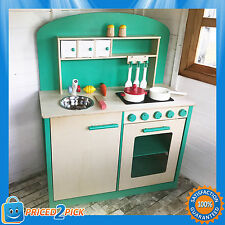 Wooden Kids Toddlers Unisex Pretend Play Kitchen with Oven Pretend Cooking Toys