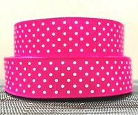 22mm wide - 3 YARDS HOT PINK with WHITE DOTS GROSGRAIN RIBBON crafts