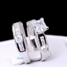 2.55ct 925 Sterling Silver Wedding Engagement Ring Set Princess Cut sz 7 1/4