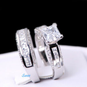 2.55ct 925 Sterling Silver Wedding Engagement Ring Set Princess Cut sz 7 1/4