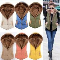 Women's Sleeveless Winter Hooded Gilet Fleece Waistcoat Vest Hoodies Coat Jacket