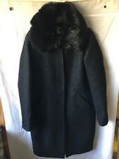 Darling Maddie Black Cocoon Coat Faux Fur Collar Size 12