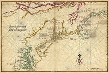 1639 Virginia and New England Historic Vintage Style Wall Map - 16x24