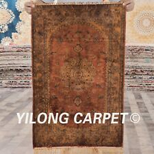 YILONG 2'x3' Hand Knotted Silk Carpet Gold Antique Home Office Area Rug G84C