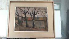 Peinture datée 1942 et monogramée étiquette au dos